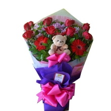 6 Red Roses with Gerbera & Mini Teddy