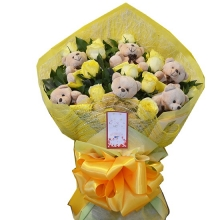 6 Yellow Roses & 6 Teddy in Bouquet