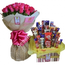 24 Pink Roses in Bouquet with Chocolate Basket