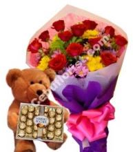 12 Red Roses,Teddy Bear w/ Ferrero Rocher Chocolate