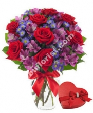 12 Red Roses in Vase with Chocolate