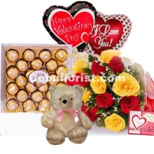 Rose Bouquet,Bear,Chocolate,Balloon & Free Greeting Card