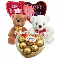 Heart Shape Balloons and Chocolate W/Teddy Bear