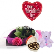1 Pink Rose,Balloon,Teddy Bear W/ Guylian Box