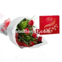 6 Red Roses Bouquet with Lindt Chocolate