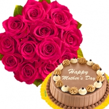 12 Pink Roses with Triple Delight Cake