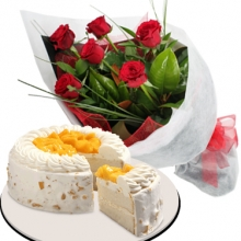 12 Red Roses Bouquet with Mango Cake by Red Ribbon