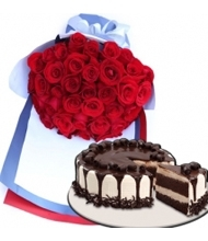 24 Red Rose Bouquet with Tiramisu Meltdown Cake