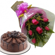 6 Pink Rose Bouquet w/ Red Ribbon Chocolate Cake