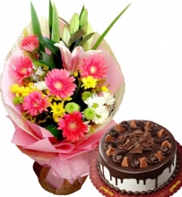 Mixed Flower Bouquet with Goldilocks Toblerone Cake