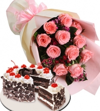 12 Pink Rose Bouquet with Red Ribbon Black Forest Cake