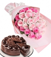 12 Pink Rose Bouquet with Red Ribbon Chocolate Cake