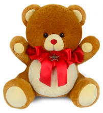 Cute Teddy Bear with Red Ribbon