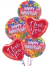 3pc Happy Anniversary & 2pc I Love You Balloon