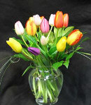 12 Mixed Pink, White, Yellow Tulips in Vase