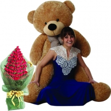 6 Feet Giant Bear W/ 48pcs Roses in Bouquet