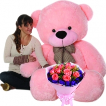 6 Feet Giant Bear W/ 12pcs Roses in Bouquet