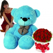 6 Feet Giant Bear W/ 36pcs Roses in Bouquet