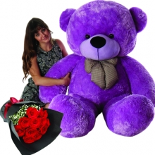 5 Feet Giant Bear W/ 12Pcs Red Roses in Bouquet