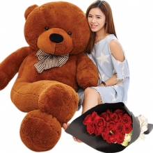 6 Feet Giant Bear W/ 24pcs Roses in Bouquet