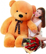5 Feet Giant Bear W/ 24Pcs Red Roses in Bouquet