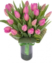 12 Holland Fresh Pink Tulips in a Glass Vase