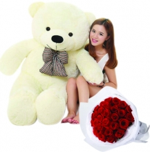 5 Feet Giant Bear W/ 36Pcs Red Roses in Bouquet
