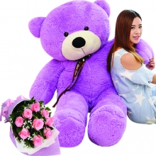 5 Feet Giant Bear W/ 12Pcs Pink Roses in Bouquet