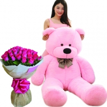 5 Feet Giant Bear W/ 36Pcs Pink Roses in Bouquet