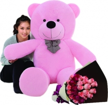 5 Feet Giant Bear W/ 24Pcs Pink Roses in Bouquet