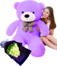 5 Feet Giant Bear W/ 12Pcs White Roses