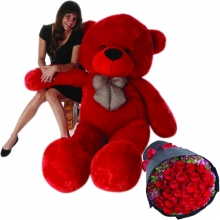 6 Feet Giant Bear W/ 36pcs Red Roses