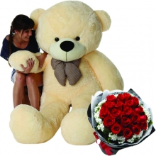 6 Feet Giant Bear W/ 24pcs Red Roses