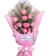 Nice Day 12 Pink Rose Bouquet with mini bear