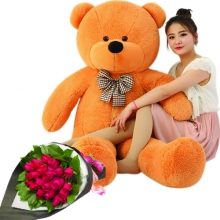 5 Feet Giant Bear W/ 24 Red Roses in Bouquet