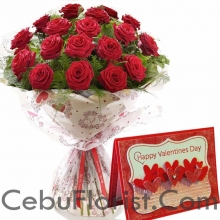 12 Red Rose Bouquet w/ Valentines Day Card