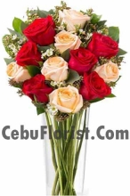 6 Red Rose with 6 Peach Rose in Vase