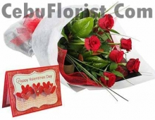 6 Red Rose in Bouquet