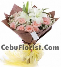 12 Peach Roses with 2 Lilies Bouquet