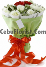 3 Red Roses with 12 White Roses Bouquet