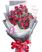 24 Red Rose Bouquet with Valentines Day Card