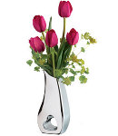 5 Holland Fresh Hot Pink Tulips in a Glass Vase