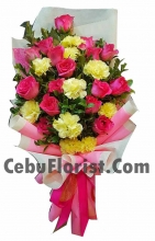 12 Pink Roses with Yellow Carnation