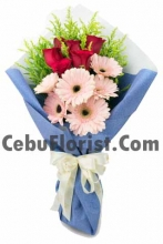 6 Red Rose with 6 Gerbera in Bouquet