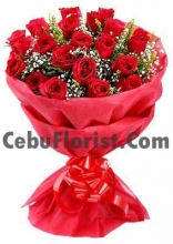 24 Red Rose in a Red Bouquet