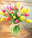 15 pcs Mixed Multicolor Tulips in Glass Vase