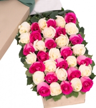 A Dozen OF Pink & White Roses in Box