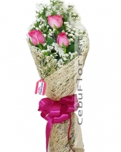 3 Pcs Pink Roses in Bouquet