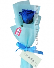 1 pcs. Blue Rose in Bouquet