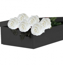 Half Dozen White Roses in a Box